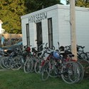 Bikes lined up along the Wabash Trace Nature Trail for the Taco Ride
