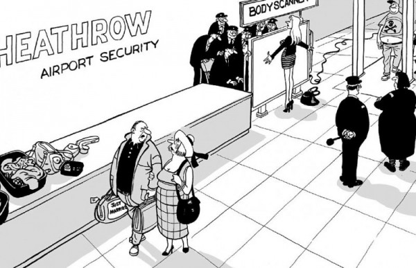 Airport Body Scanner cartoon