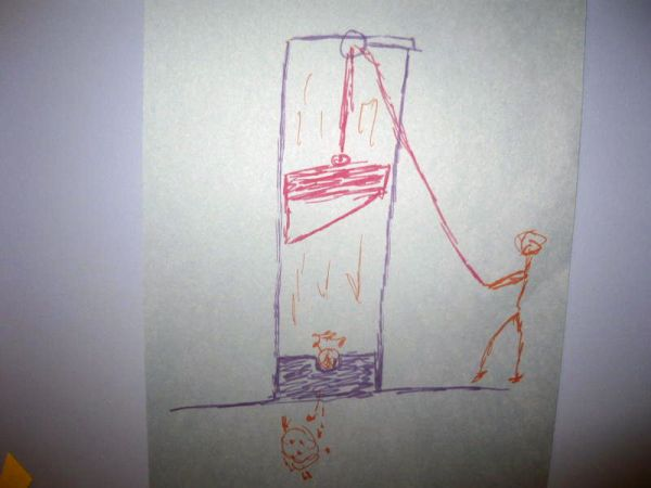 Drawing a guillotine with Grandpa