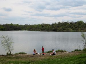 Fishing at Standing Bear Lake Park in Omaha
