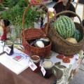 Melons, fresh cut flowers, homemade vases + jams for sale at market