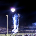 Fireworks explode as the Nighthawks take the field