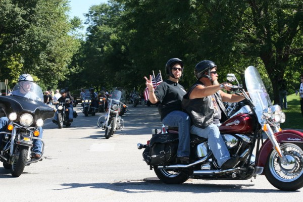 Patriot Guard escorting the procession