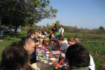 Slow Food Omaha members enjoy a harvest dinner at Rhizosphere Farm