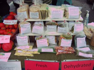 Dehydrated soup mixes for sale at farmers market