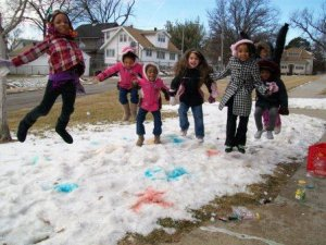 Snow Stomping!: (after snow painting with Girls Inc.)