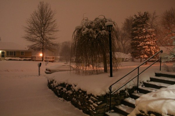 Night Shot of Snow Storm in Omaha