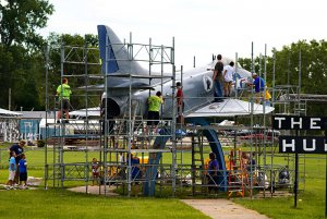 Cleaning a jet at Freedom Park