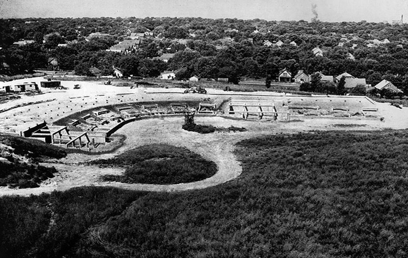 Construction of Rosenblatt Stadium in 1947