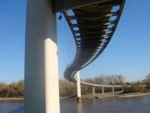 Underneath the Bob Kerrey Pedestrian Bridge
